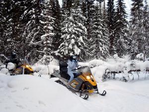Зимний загородный отдых на снегоходах