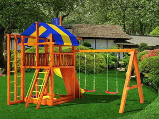 Площадка для игр во дворе загородного дома — радость для детей, отдых для взрослых
